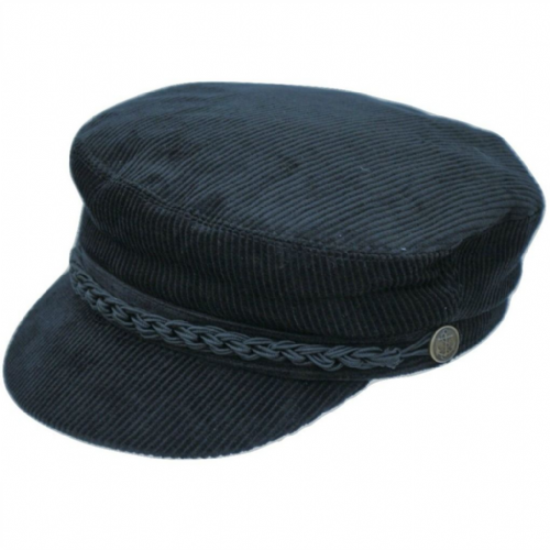 Breton Cord Barge Fishermans Cap - Navy